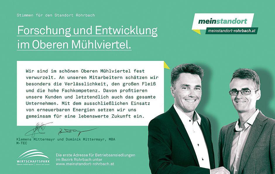 Stimmen für den Standort Rohrbach, Biohort, M-TEC
